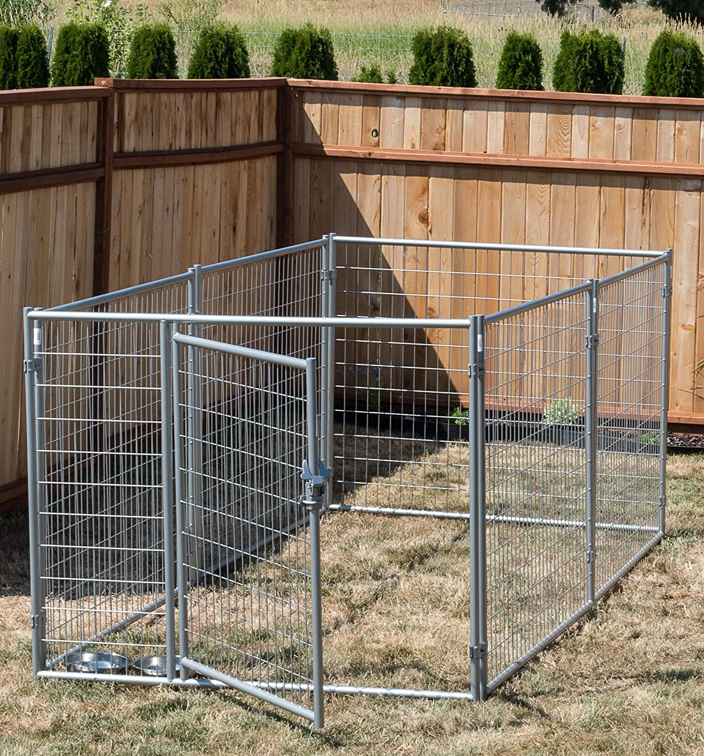 Lucky Dog® 4'H x 5'W x 10'L  Silver Modular Welded Wire Kennel